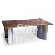 Стол со слэбов ореха в стиле Лофт №3