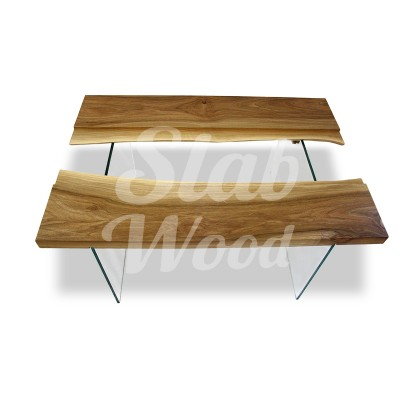 Стол со слэбов ореха и стекла в стиле Лофт №63