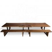 Комплект столов и скамеек из слэба дуба в стиле ЭКО №96