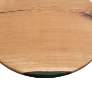 Стол круглый со слэбы дуба с голубой смолой №153