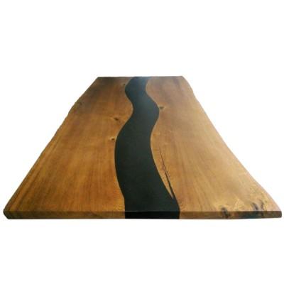 Стол со слэбы дуба и черной смолы №155