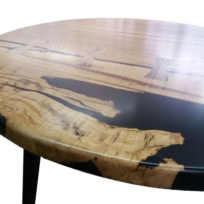 Круглый стол со слэбы дуба с черной смолой №157